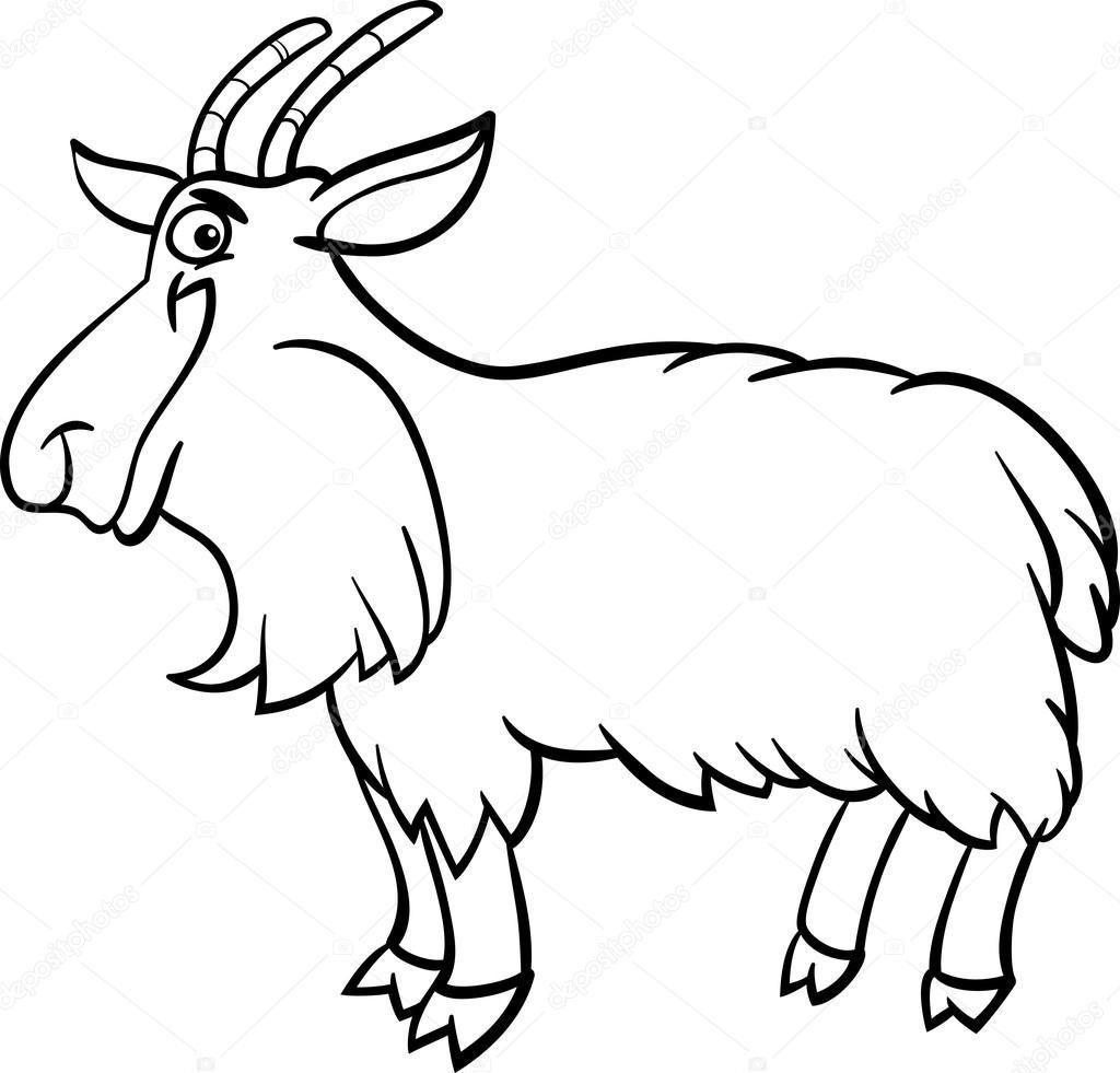 1024x981 Farm Goat Cartoon For Coloring Book Stock Vector Izakowski