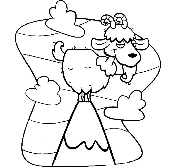 600x569 Cartoon Of Mountain Goat Coloring Pages Color Luna