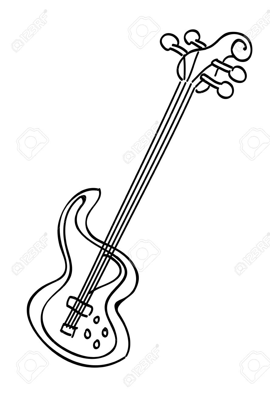 889x1300 Cartoon Image Of Electric Guitar Royalty Free Cliparts, Vectors