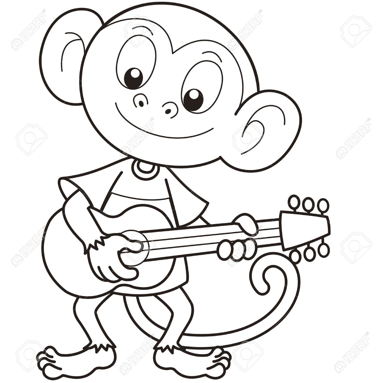 1300x1300 Cartoon Monkey Playing A Guitar Black And White Royalty Free