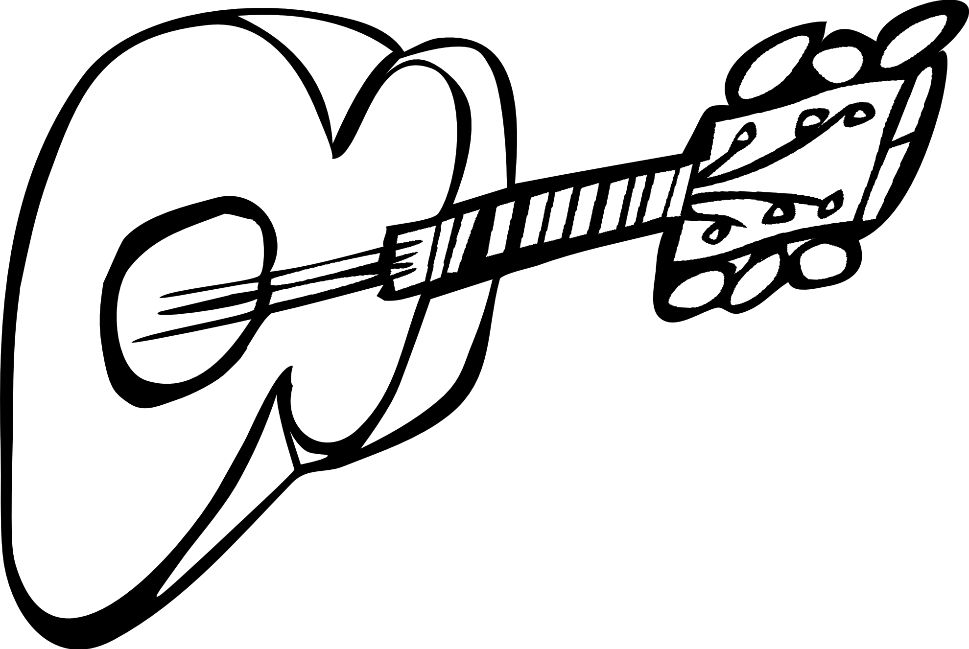 1979x1326 Drawn Guitar Black And White