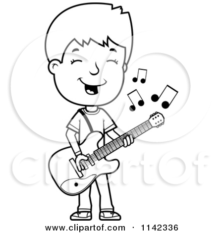450x470 Playing Guitar Clipart Black And White