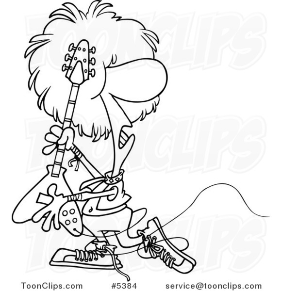 581x600 Cartoon Black And White Line Drawing Of A Rocker Playing A Guitar