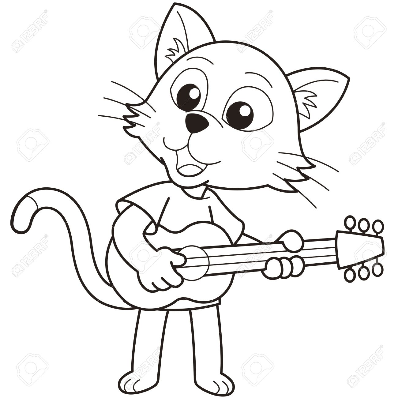 1300x1300 Cartoon Cat Playing A Guitar Black And White Royalty Free Cliparts
