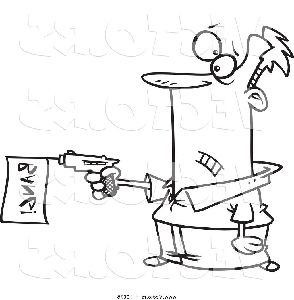 1024x1044 Best Free Vector Of Cartoon Gun Outlined Coloring Page Drawing By