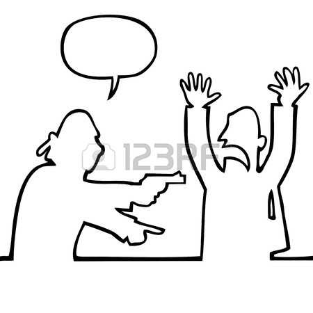 450x450 Black And White Drawing Of A Thief Holding A Gun Demanding