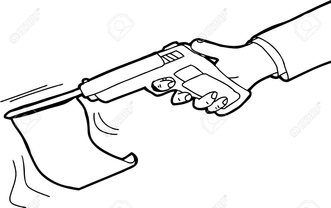 1300x818 Outlined Cartoon Of Flag Shooting Out Of Gun Royalty Free Cliparts