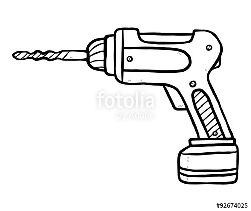 500x420 Drill Cartoon Vector And Illustration, Black And White, Hand