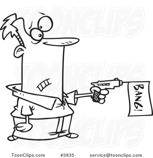 581x600 Cartoon Black And White Line Drawing Of A Guy Shooting A Bang