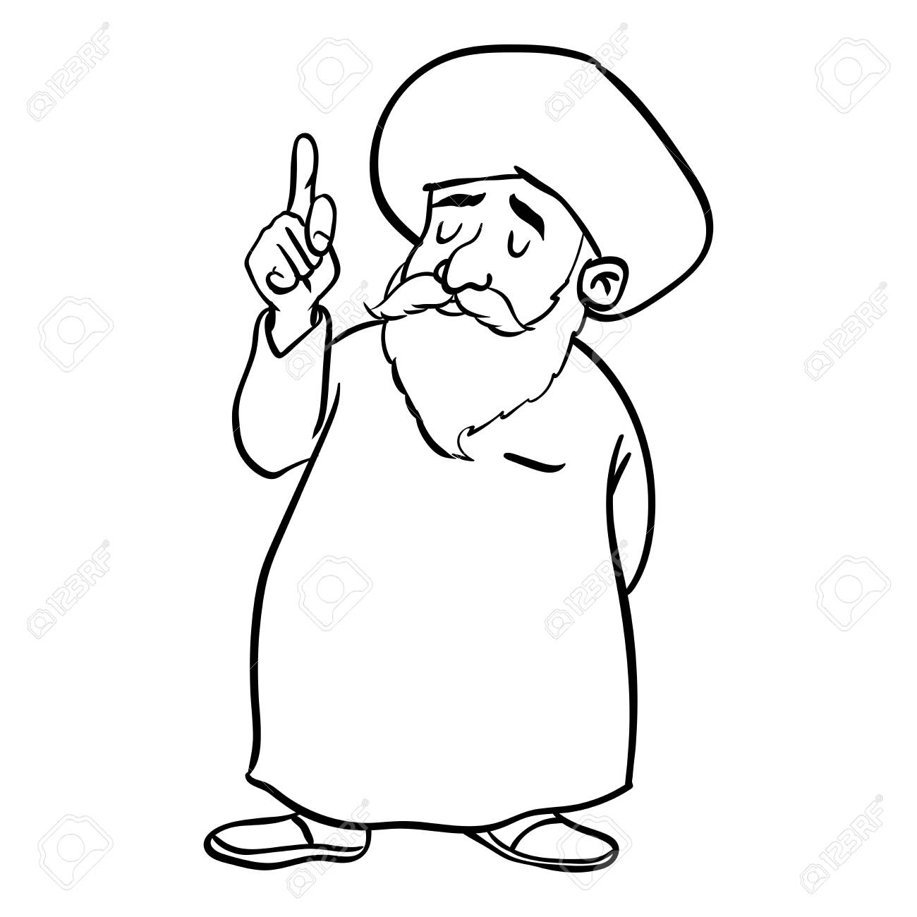 1300x1300 Hand Drawing Of Cartoon Muslim Old Man Standing, Pointer Finger