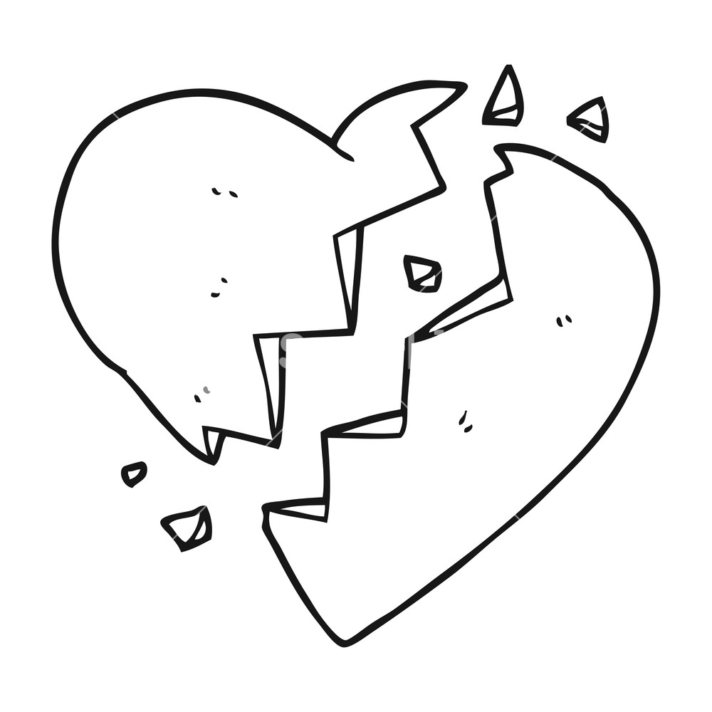 1000x1000 Freehand Drawn Black And White Cartoon Broken Heart Royalty Free