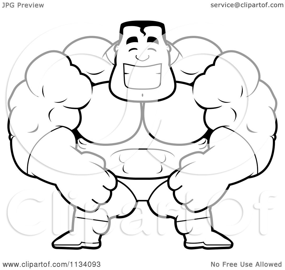 1080x1024 Cartoon Clipart Of An Outlined Happy Buff Super Hero Guy