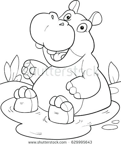 390x470 Baby Hippo Coloring Pages Printable For