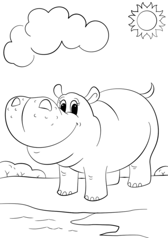 340x480 Cute Cartoon Hippo Coloring Page Free Printable Pages