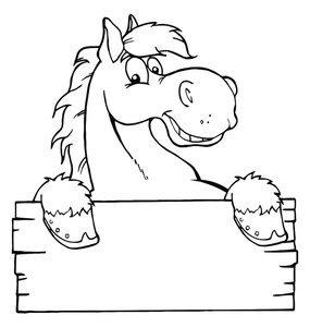 285x300 Horse Coloring Page Cartoon Clipart Image