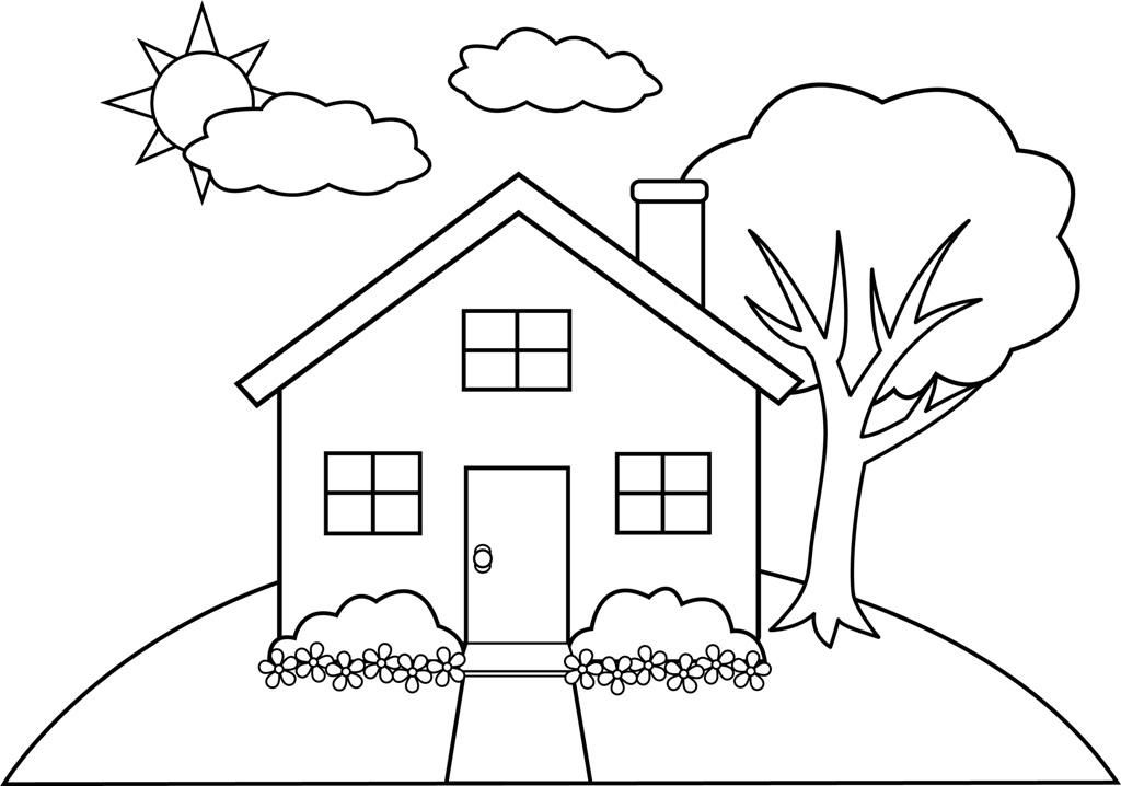 1024x718 Cartoon House Coloring Pages