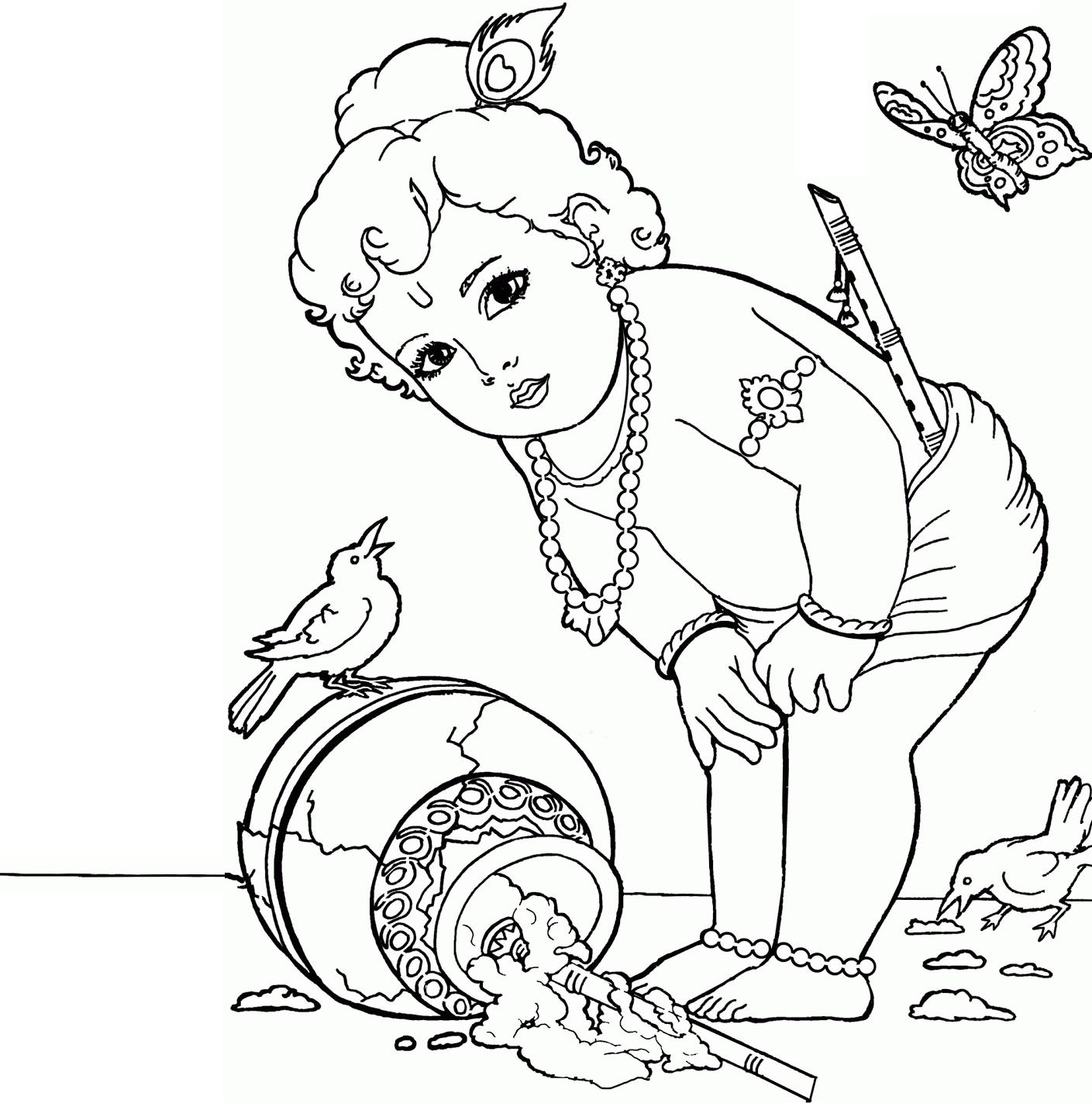1409x1423 Lord Krishna Drawings Simple For Kids