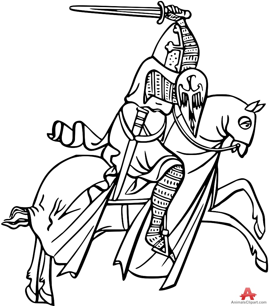 Cartoon knight drawing at free for for Knight on horse coloring page