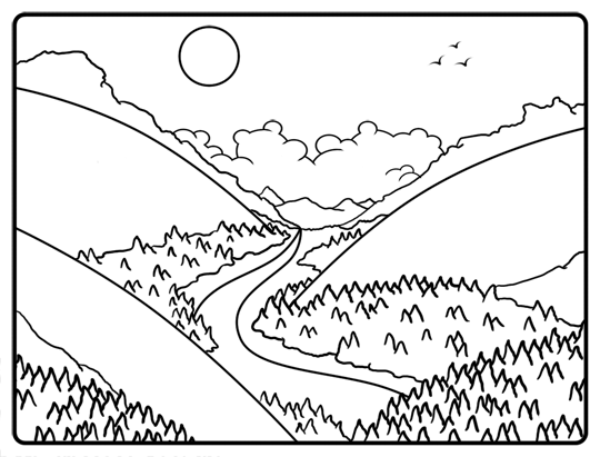 540x411 Black And White Drawing Of A Cartoon Valley Drawing And Painting