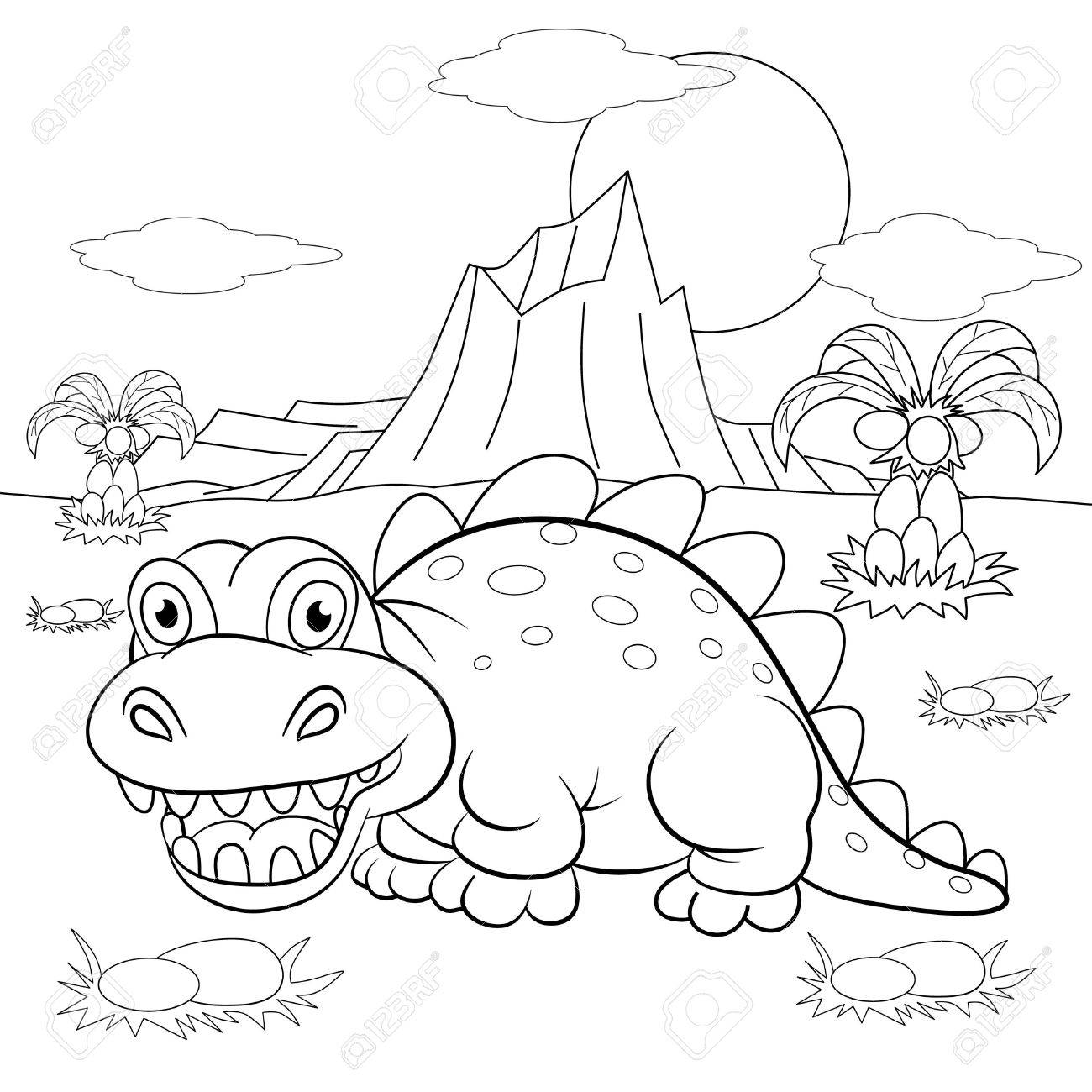 1300x1300 Coloring Book. Funny Dinosaur In A Prehistoric Landscape. Cartoon