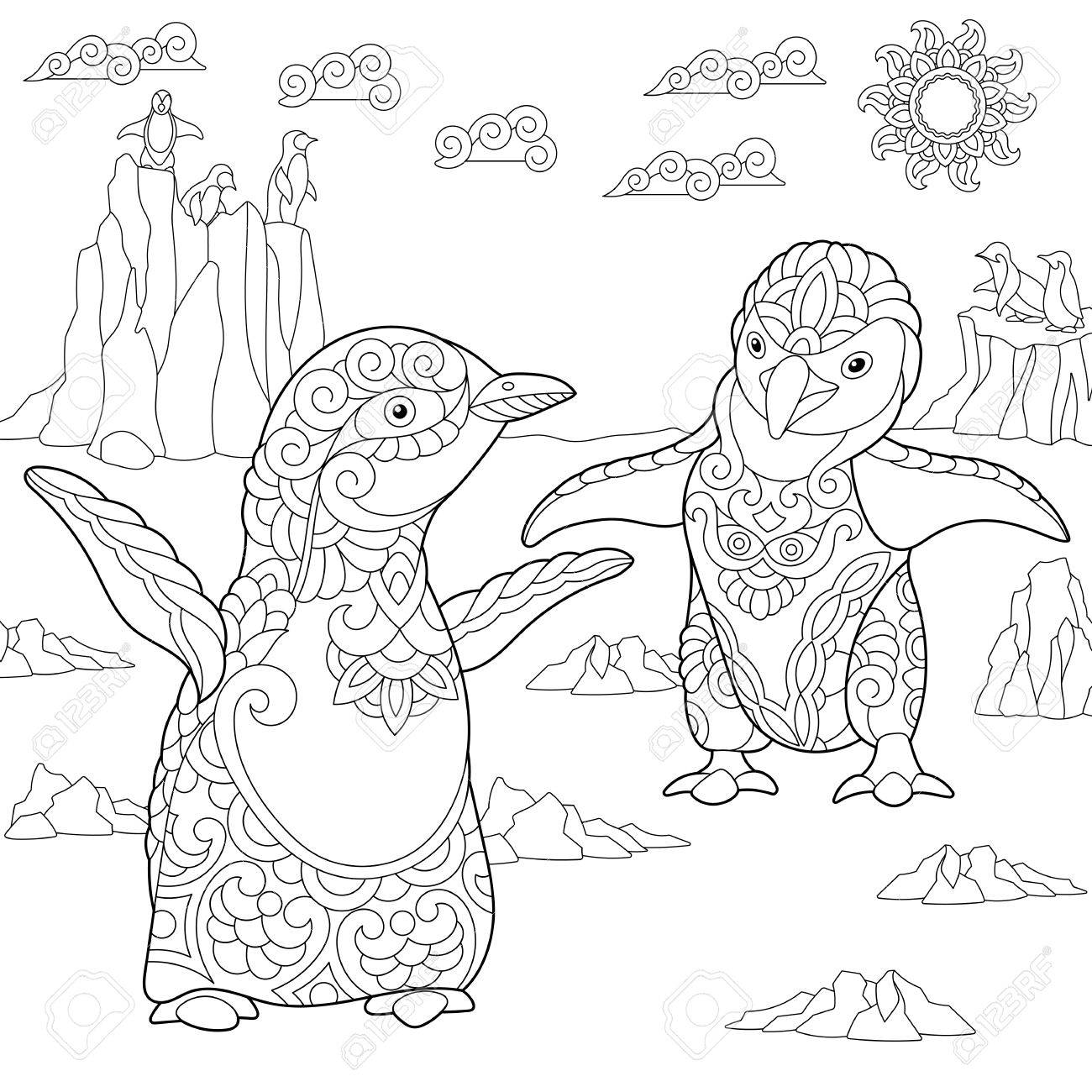 1300x1300 Coloring Page Of Young Penguins Among Arctic Landscape. Freehand