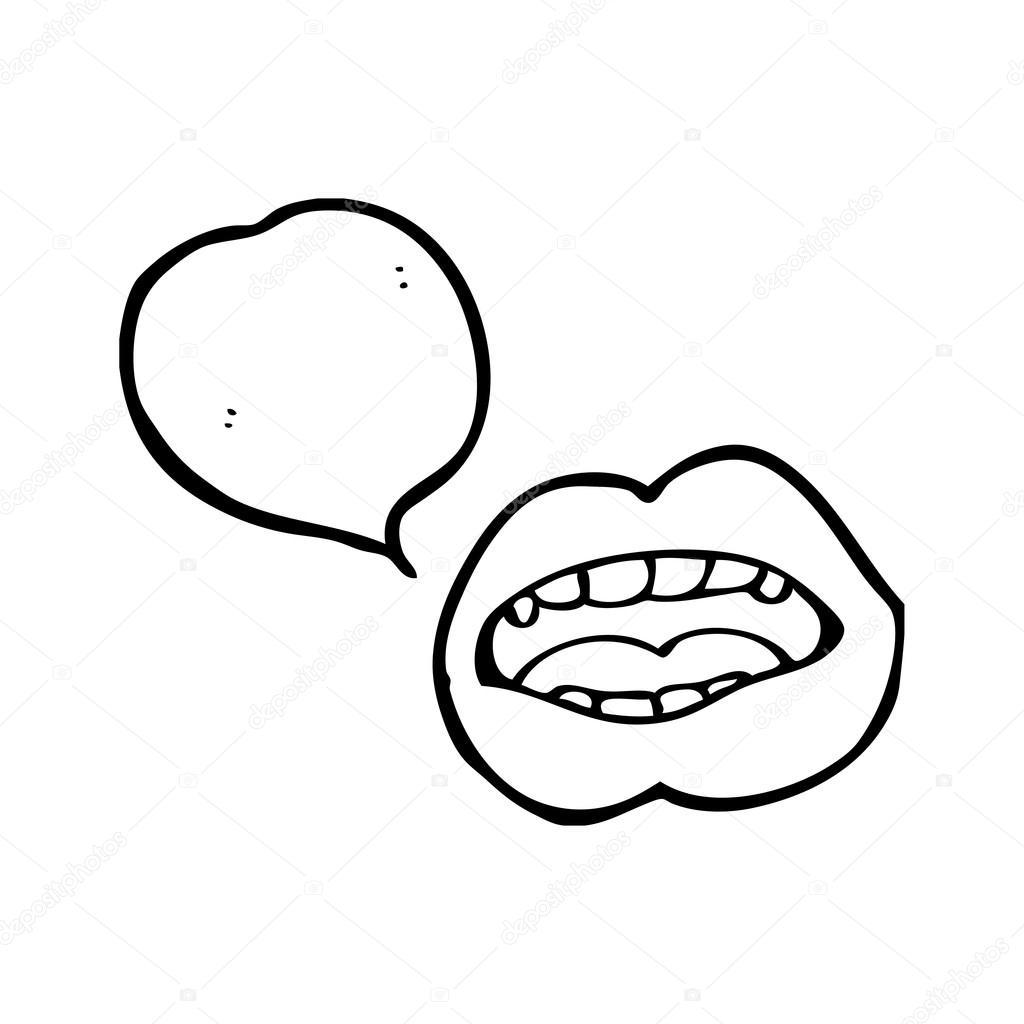 1024x1024 Cartoon Talking Lips With Speech Bubble Stock Vector