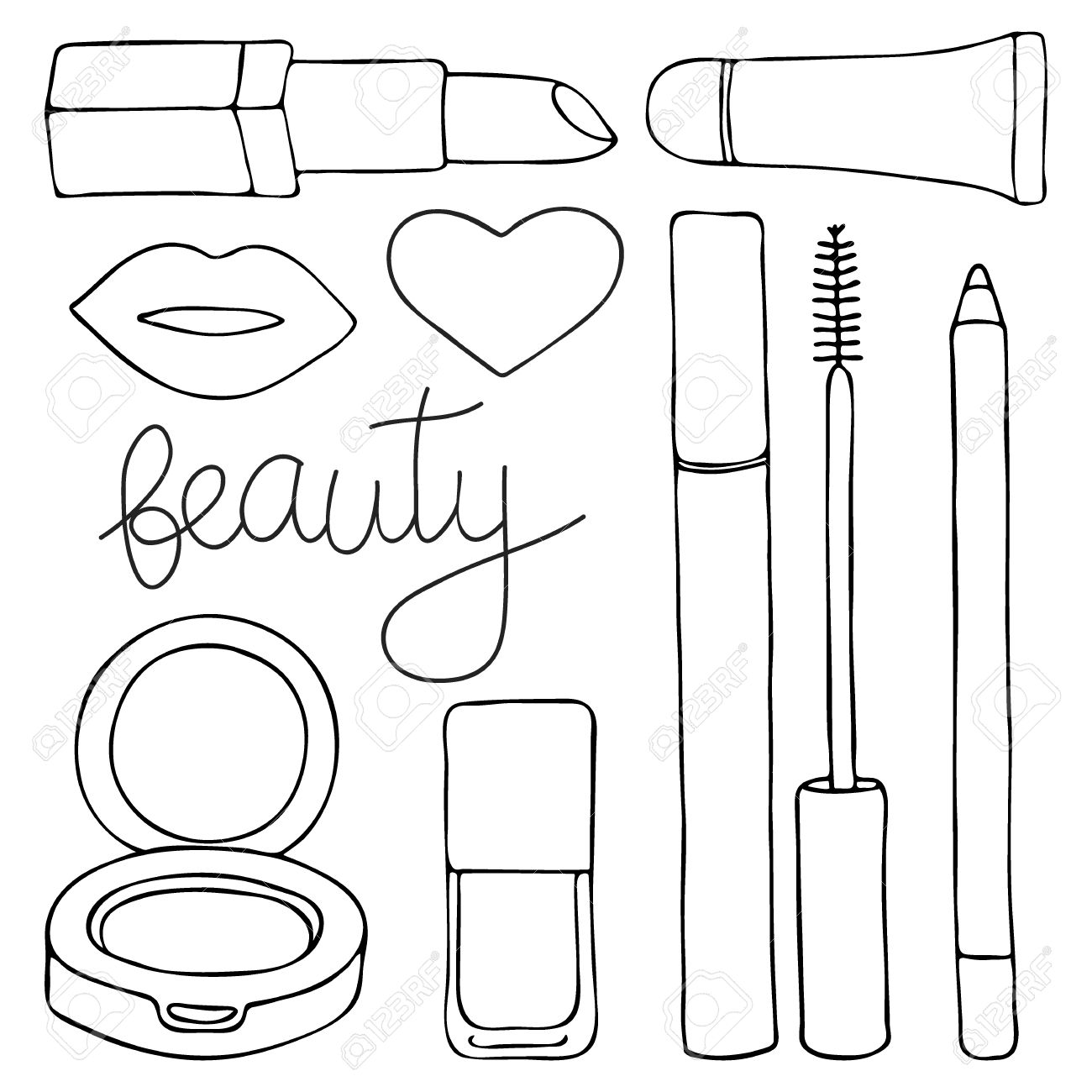 1300x1300 Cosmetics Or Make Up Set. Hand Drawn Cartoon Collection