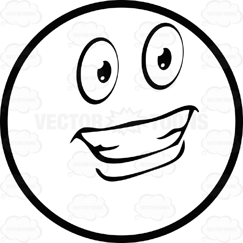 800x800 Delighted Large Eyed Black And White Smiley Face Emoticon