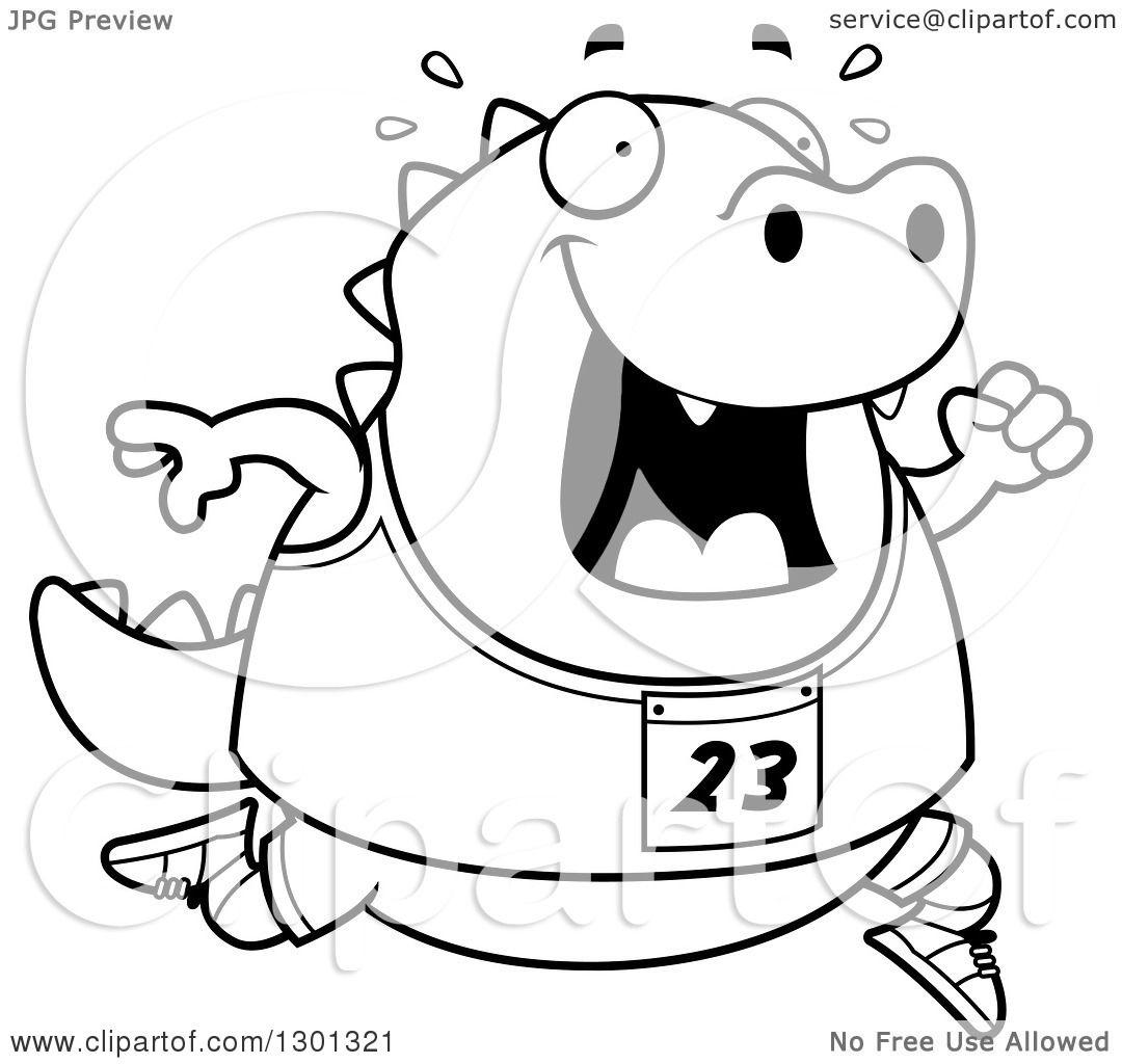 1080x1024 Outline Clipart Of A Cartoon Black And White Sweaty Chubby Lizard