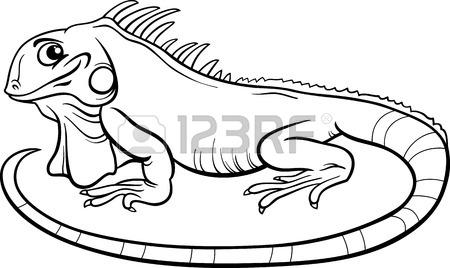 450x268 Black And White Cartoon Illustration Of Funny Iguana Lizard
