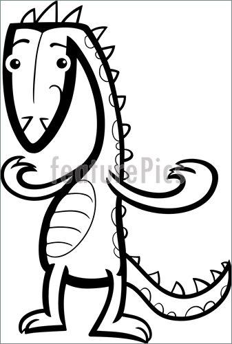 337x500 Cartoon Lizard Or Dinosaur Coloring Page Illustration