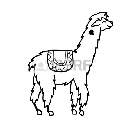 450x450 Vector Illustration Of Cute Character South Lama With Decorations