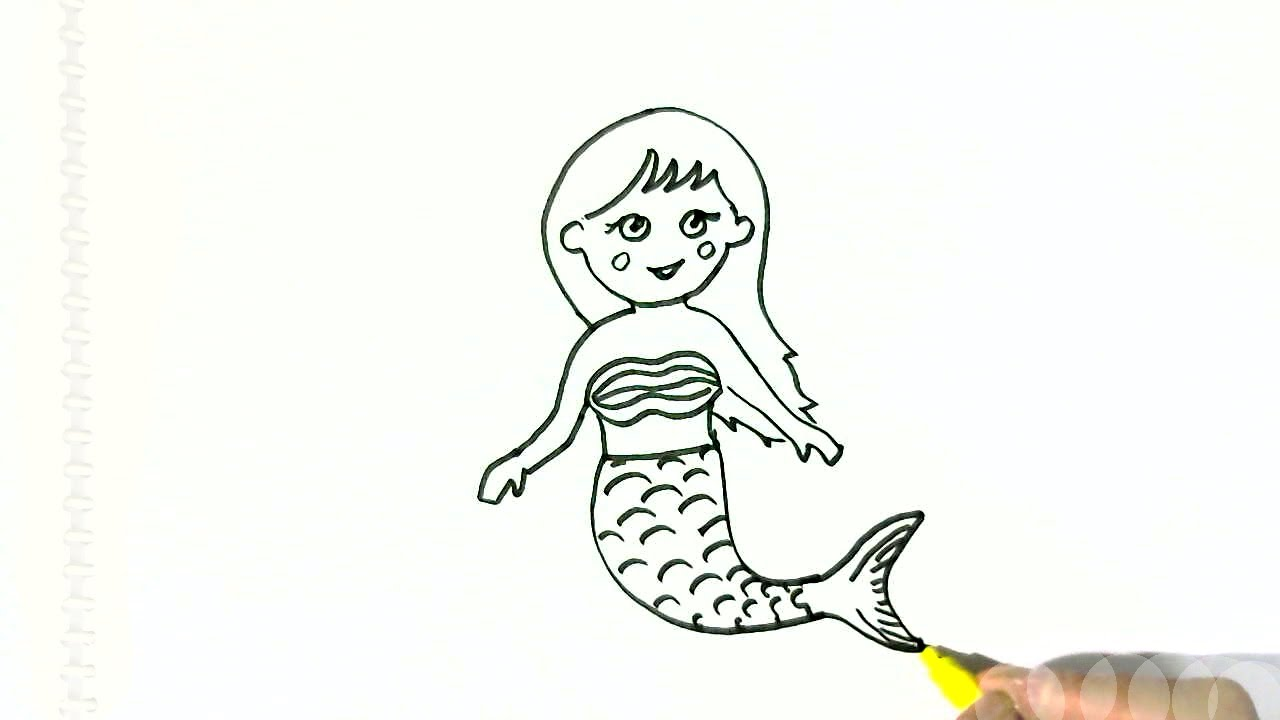 1280x720 How To Draw A Cute Mermaid In Easy Steps For Children. Beginners