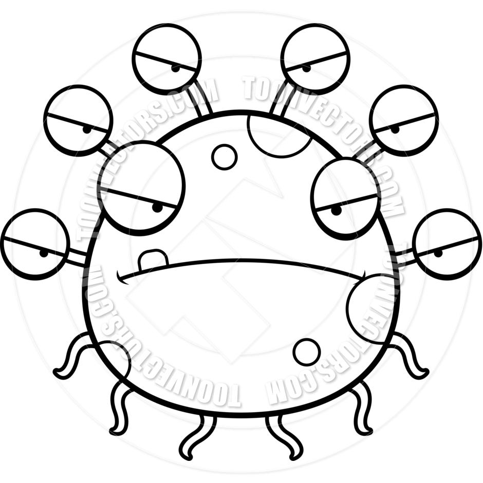 940x940 Cartoon Alien Eyeball Monster Angry (Black And White Line Art) By