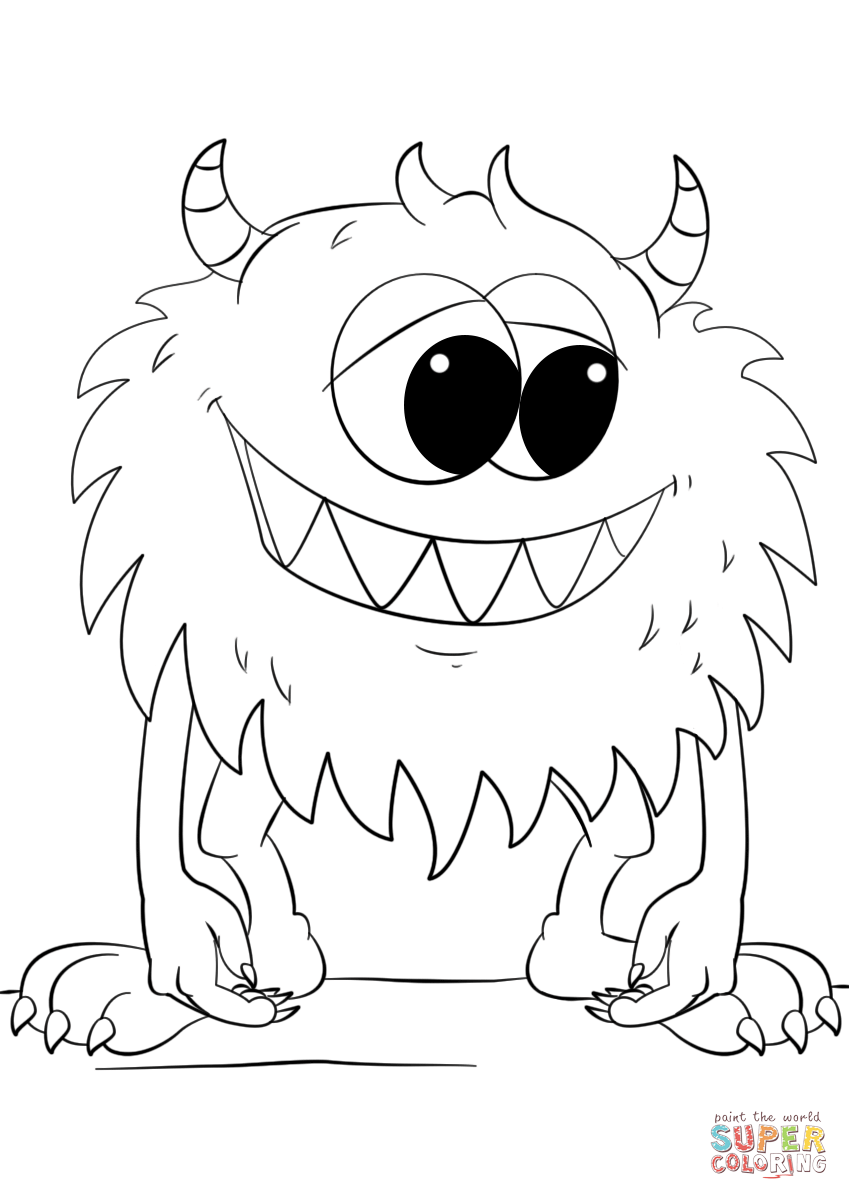 849x1200 Cute Cartoon Monster Coloring Page Free Printable Coloring Pages