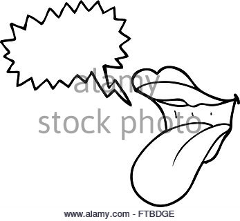347x320 Freehand Drawn Cartoon Mouth Sticking Out Tongue Stock Vector Art