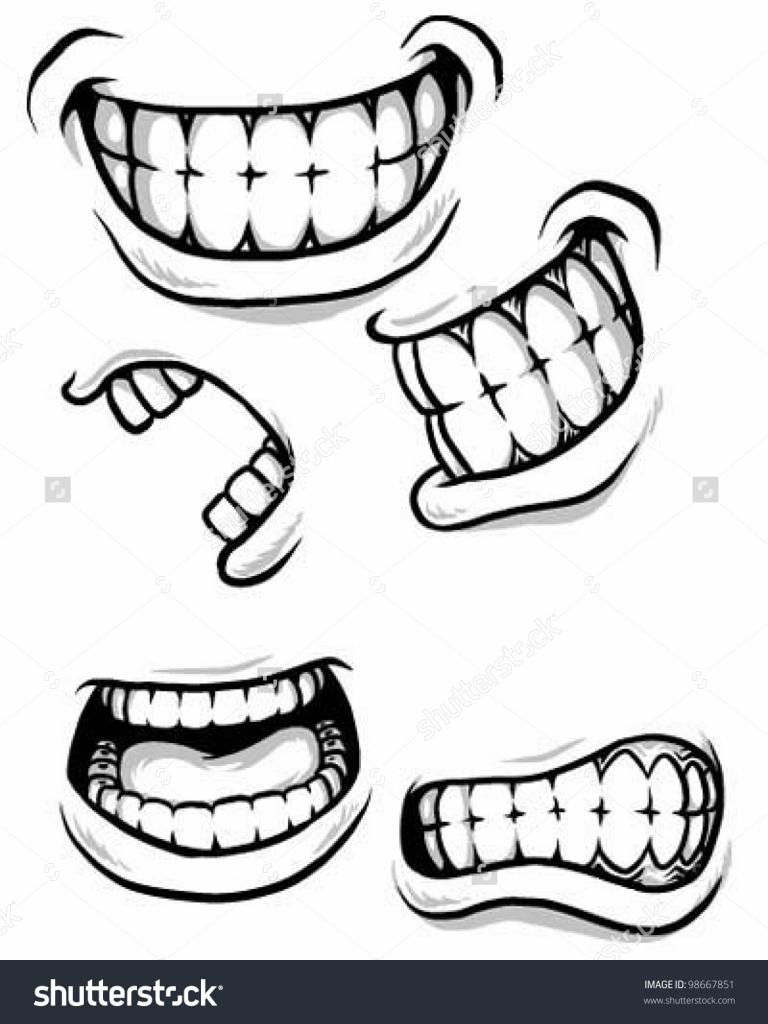 768x1024 Cartoon Mouth Drawing Cartoon Mouth Stock Vector 98667851