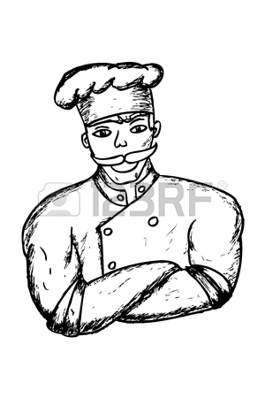 300x450 Hand Draw Sketch Of Muscle Chef Stock Photo, Picture And Royalty