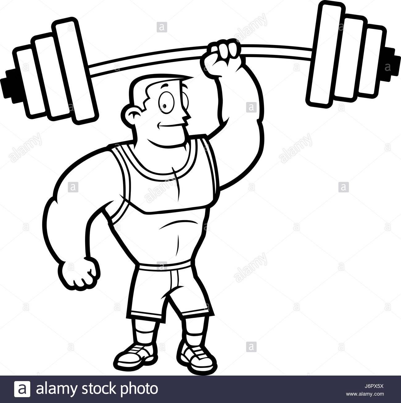 1300x1307 A Cartoon Strong Man Lifting A Heavy Weight Stock Vector Art