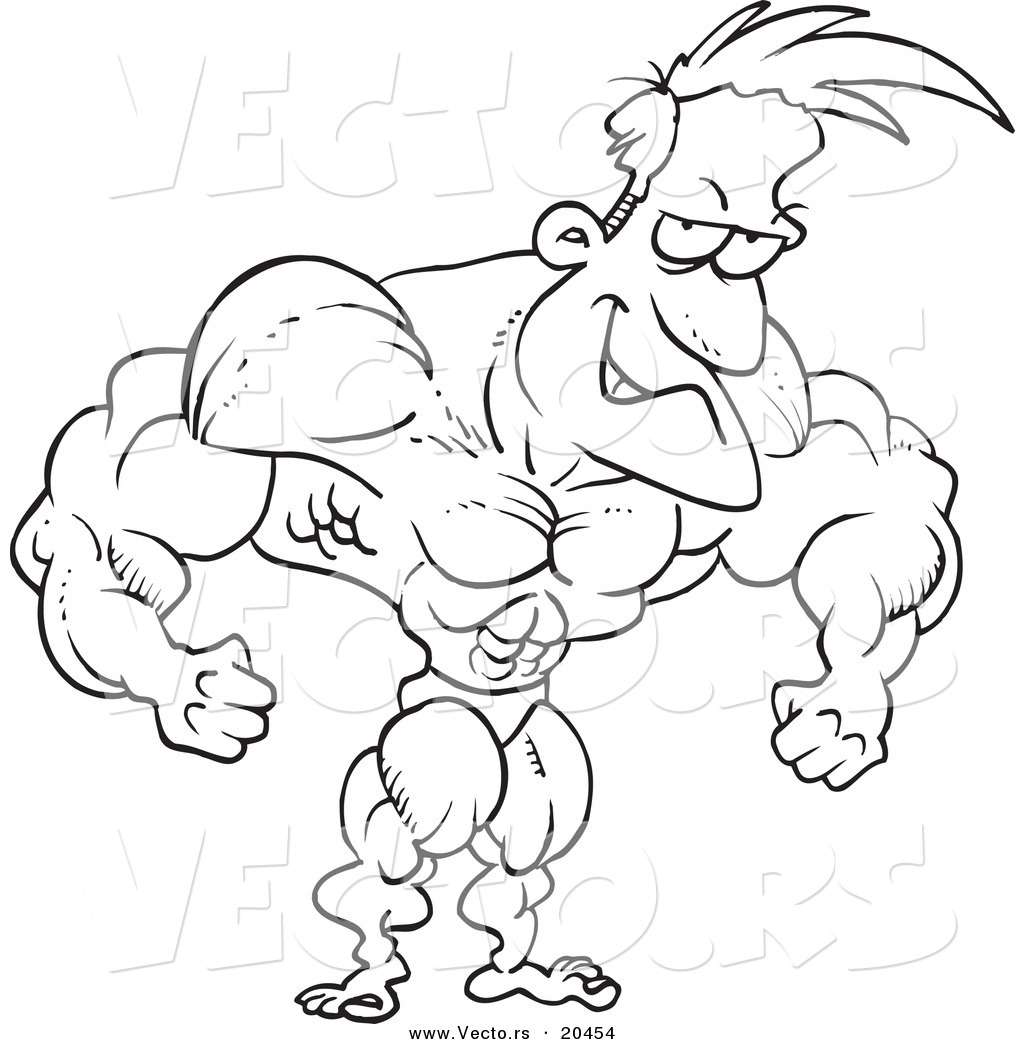 1024x1044 Vector Of A Cartoon Bodybuilder Flexing