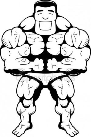 300x450 Cartoon Bodybuilder Flexing Stock Vector Cthoman