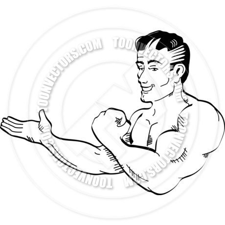 460x460 Cartoon Muscle Man Vector Illustration By Clip Art Guy Toon