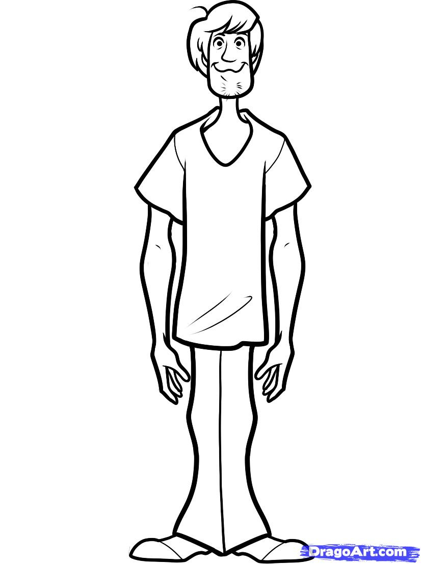826x1106 Scooby Doo Cartoon Drawing How To Draw Shaggy, Step By Step
