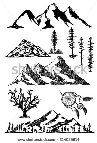 318x470 Pine Tree Sketch Stock Illustrations Amp Cartoons Shutterstock