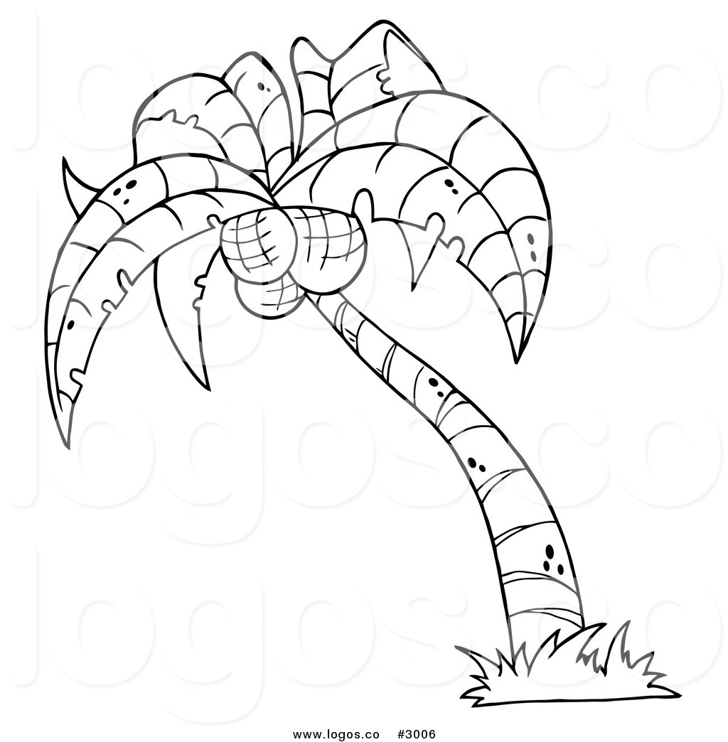1024x1044 Royalty Free Vector Of A Black And Outline White Palm Tree