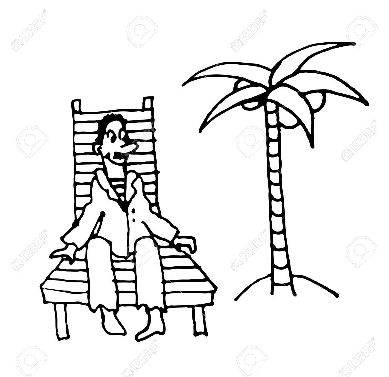 1300x1259 Sailor Man In A Suit Rests On A Wooden Deck Chair Under A Palm