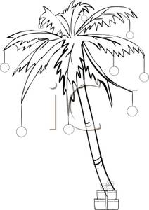 212x300 And White Cartoon Of A Palm Tree Decorated In Christmas Ornaments