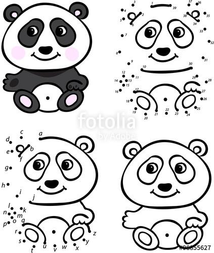 423x500 Cartoon Panda. Vector Illustration. Coloring And Dot To Dot Game