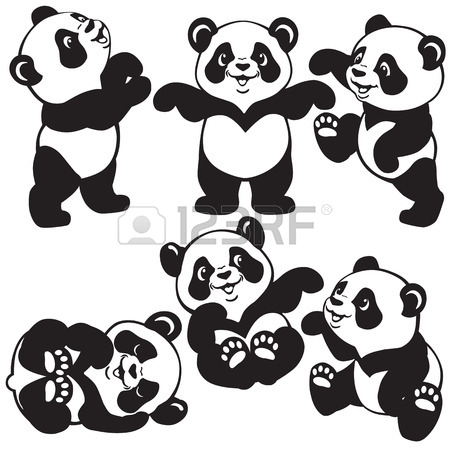 450x450 Set With Cartoon Panda Bear , Black And White Images For Little