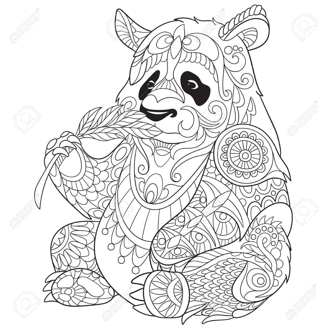 1300x1300 Stylized Cartoon Panda Clip Art Libres De Droits , Vecteurs Et
